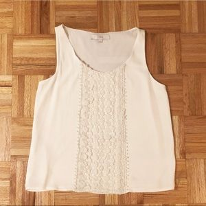 Loft White Blouse with Flower Detailing